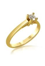 18 karaat geel goud verlovingsring met 0.23 ct diamant