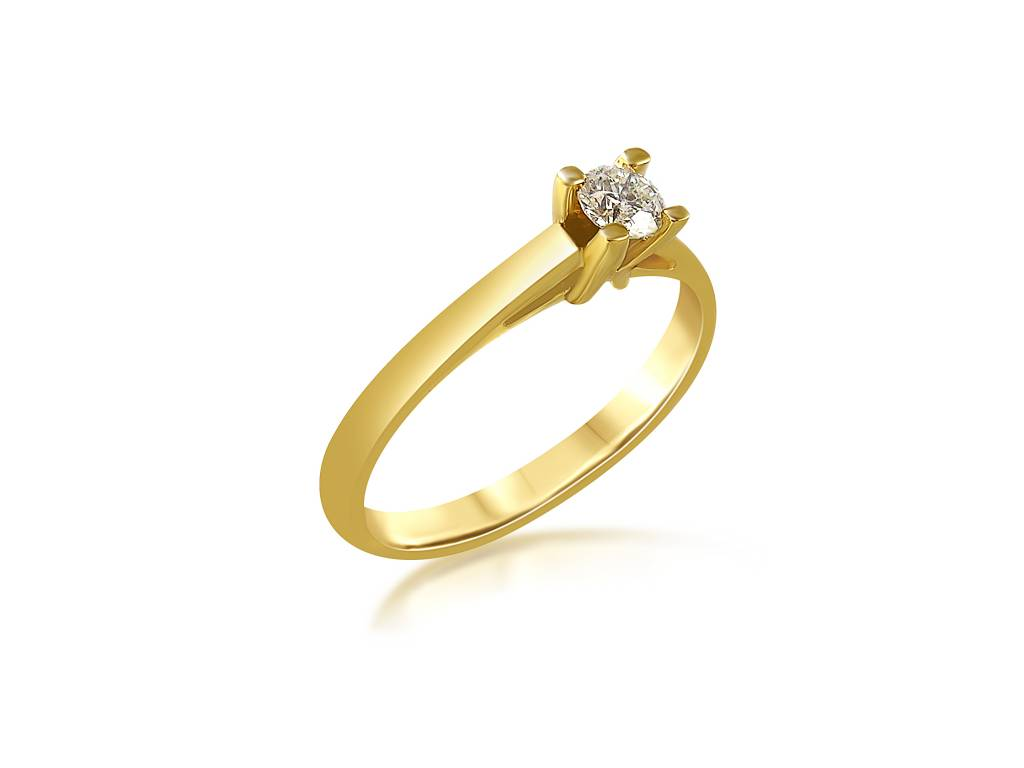 18 karat yellow gold engagement ring with 0.23 ct diamond