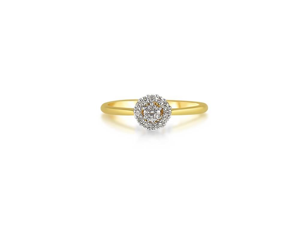 18 karaat geel goud verlovingsring met 0.24 ct diamanten