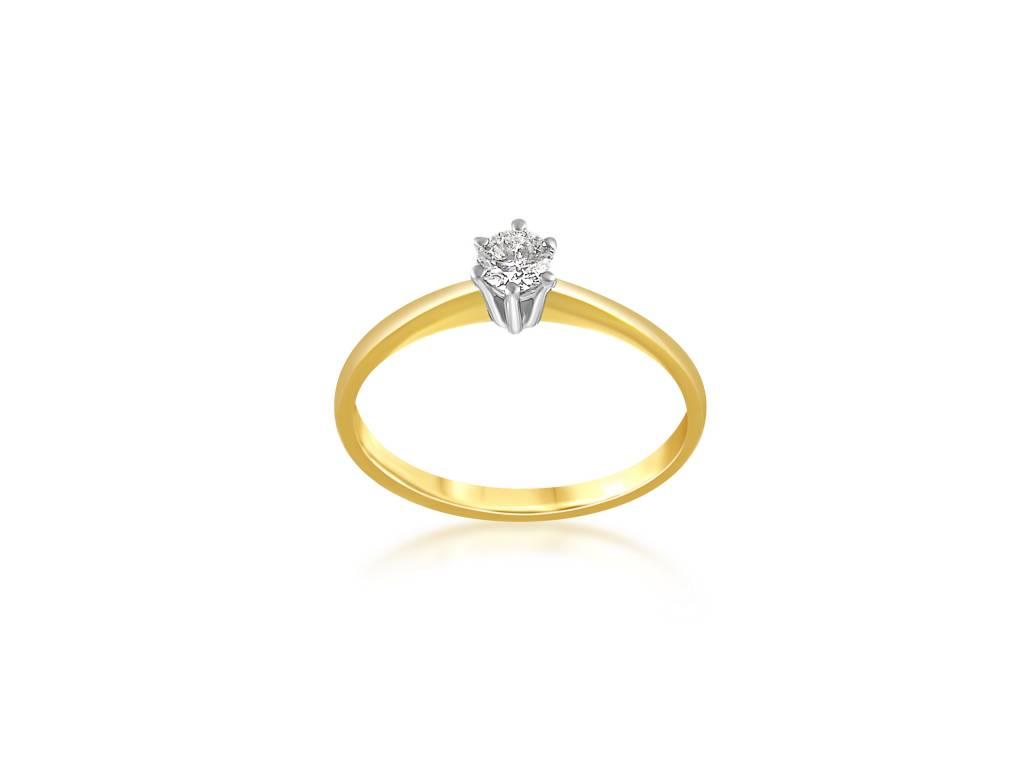 14 Karat Yellow And White Gold Engagement Ring With 0 25 Ct Diamond Itai Diamonds