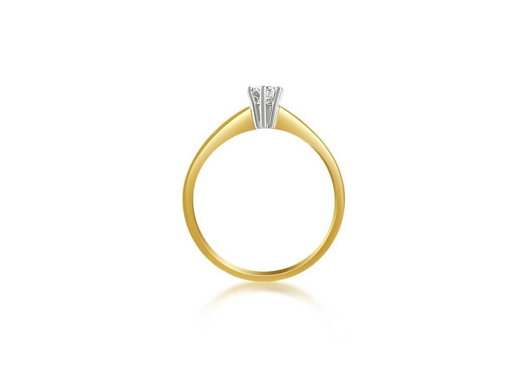 14 karaat geel en wit goud verlovingsring met 0.25 ct diamant