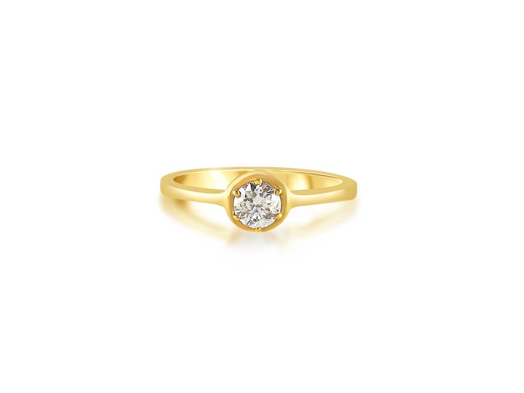 18 karat yellow gold engagement ring with 0.29 ct diamond