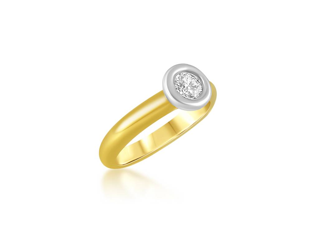 18 karaat geel goud verlovingsring met 0.32 ct diamant