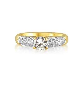 IGI 18 karat yellow gold engagement ring with 0.46 ct + 0.26 ct diamonds