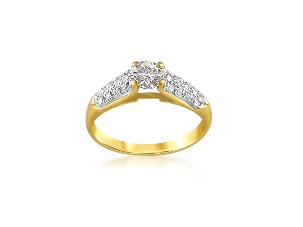18 karat yellow gold engagement ring with 0.46 ct + 0.26 ct diamonds