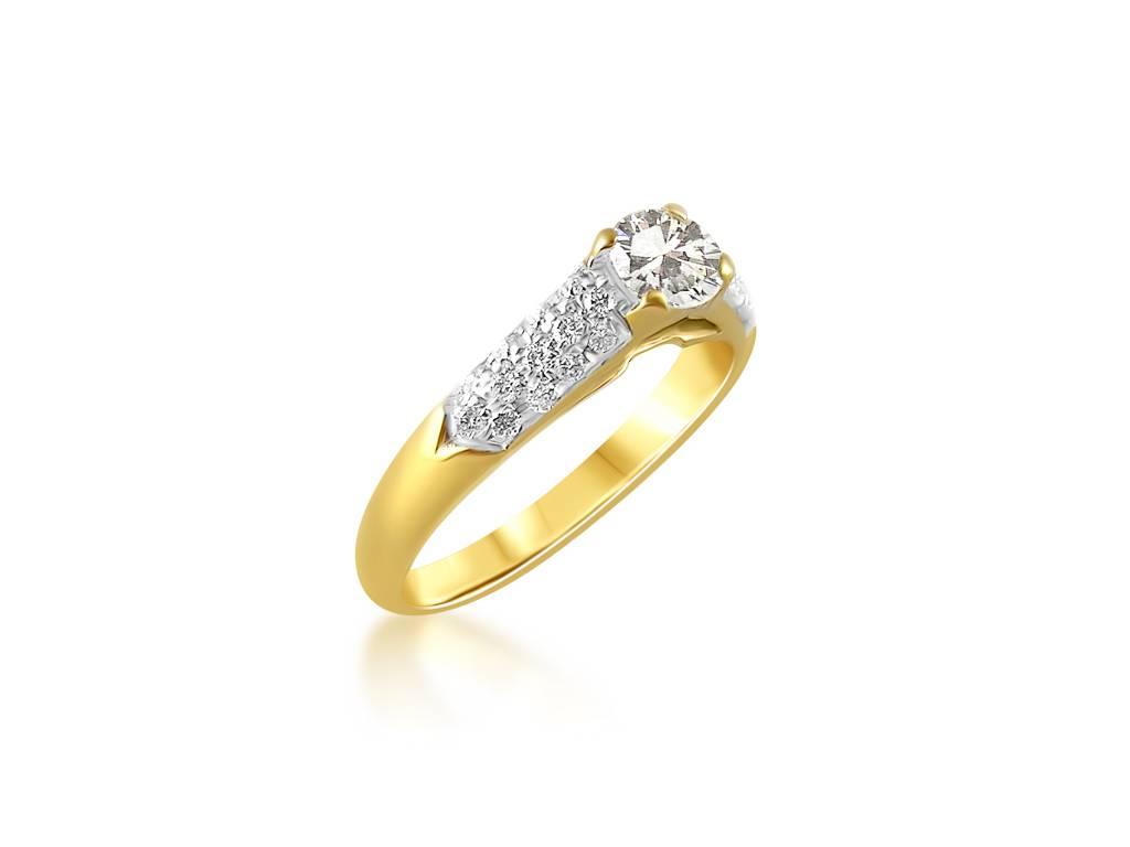 IGI 18 karaat geel goud verlovingsring met 0.46 ct +0.26 ct diamanten