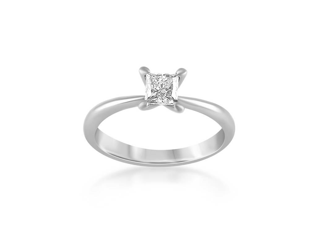 18 karaat wit goud verlovingsring met 0.50 ct diamant