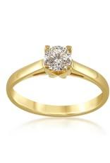 18 karaat geel goud verlovingsring met 0.50 ct diamant