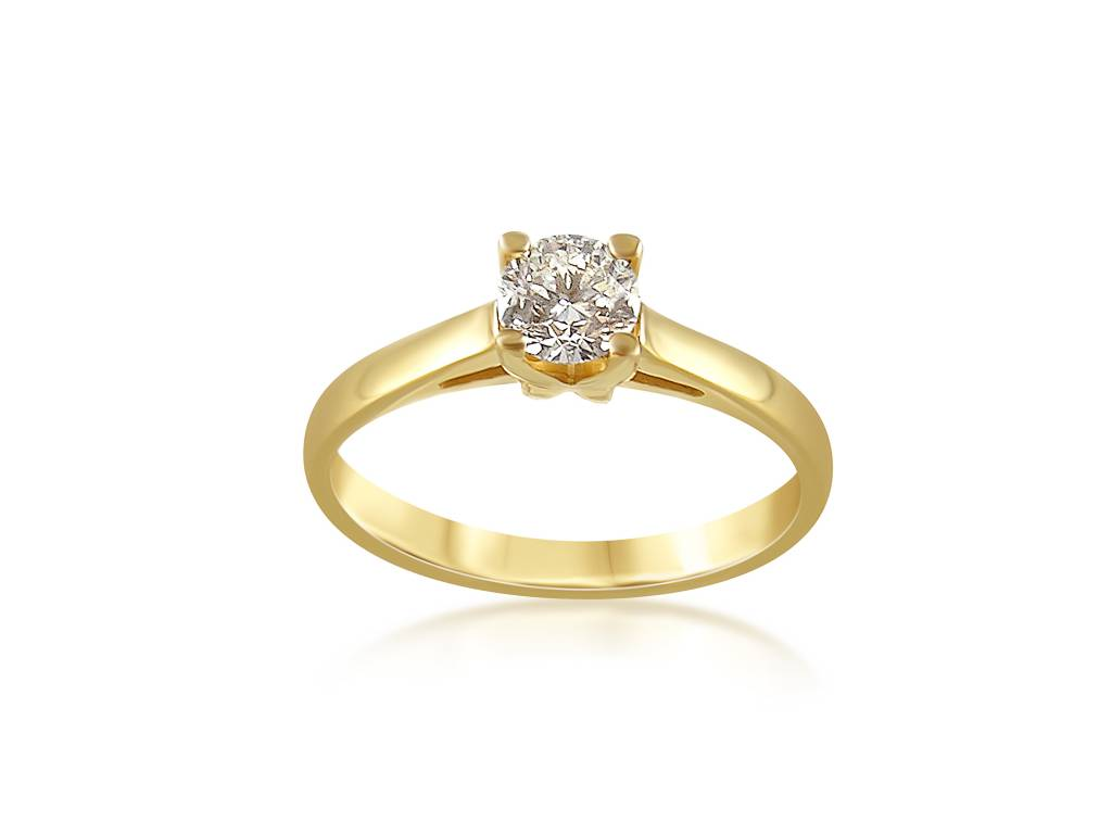 18 karat yellow gold engagement ring with 0.50 ct diamond