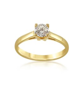 IGI 18 karat yellow gold engagement ring with 0.50 ct diamond