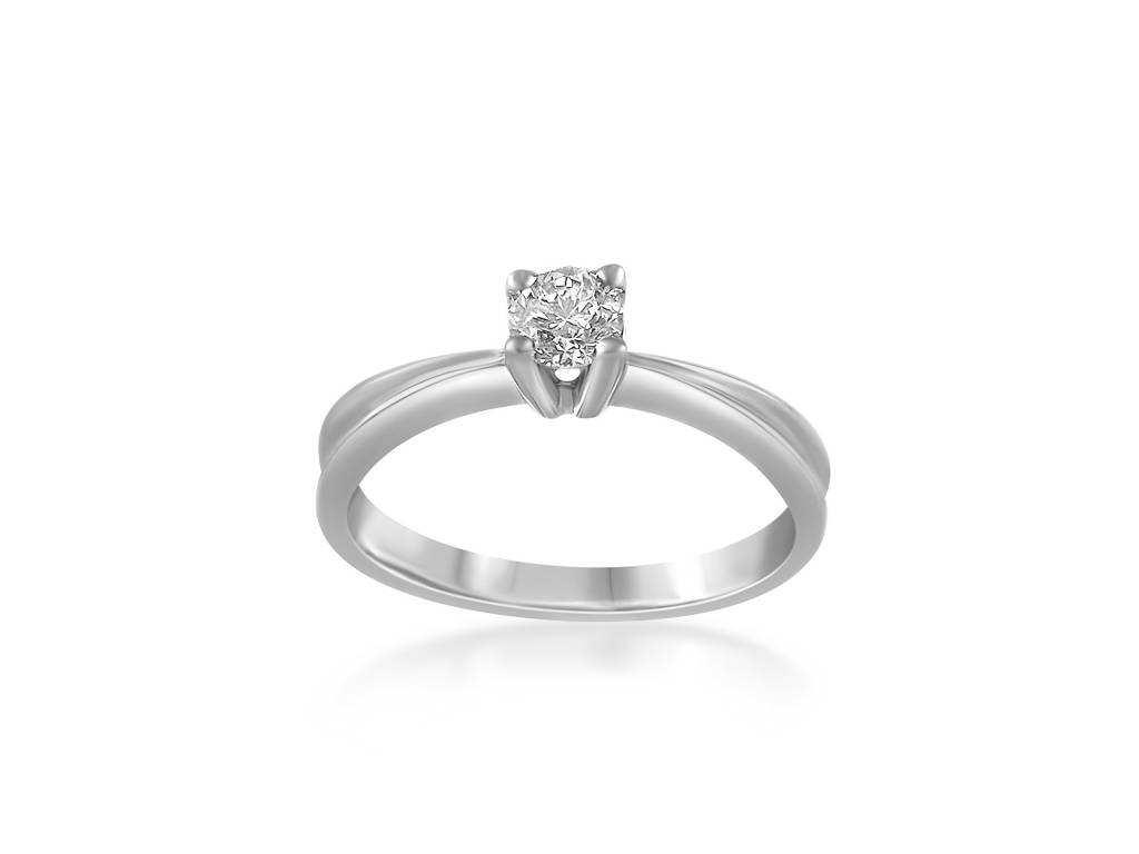 IGI 18 karaat wit goud verlovingsring met 0.38 ct diamant