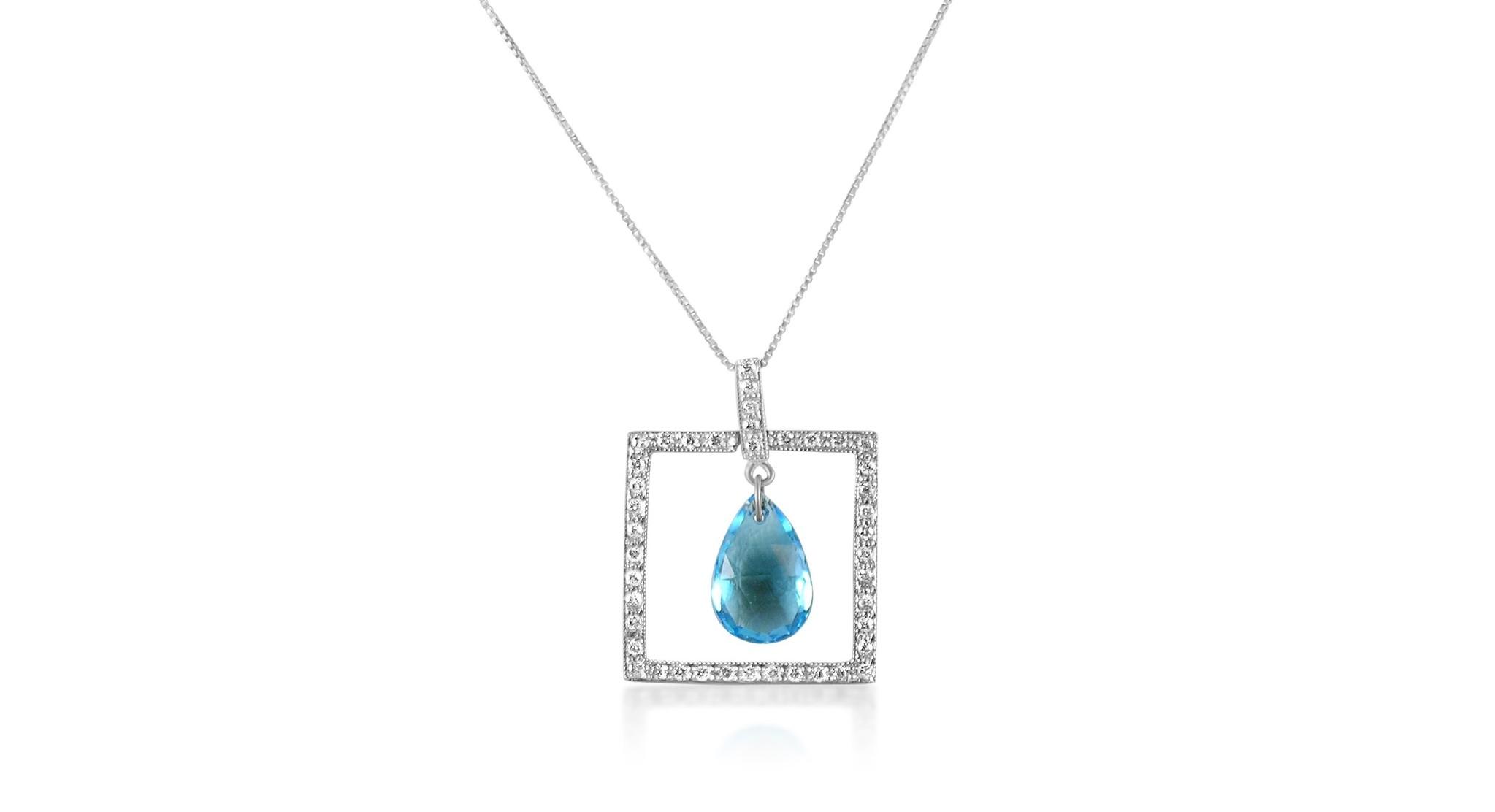 18 karaat wit goud hanger met 0.30 ct diamanten en 2.58 ct blauwe topaas