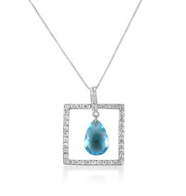 18 karat white gold pendant with 0.30 ct diamonds and 2.58 ct blue topaz