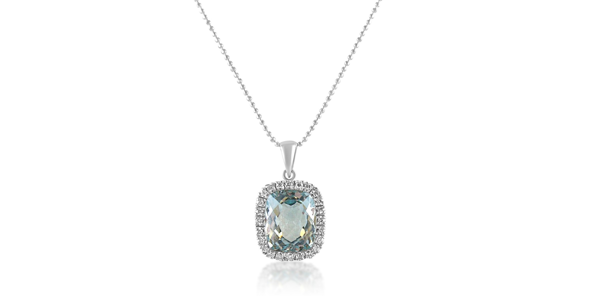 3813bc2902a 18 karat white gold pendant with 0.30 ct diamonds and 1.02 ct blue topaz