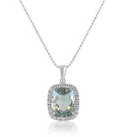 18 karaat wit goud hanger met 0.25 ct diamanten en 5.89 ct blauwe topaas