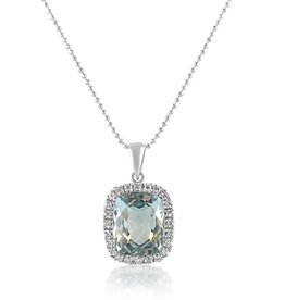 18 karat white gold pendant with 0.25 ct diamonds and 5.89 ct blue topaz