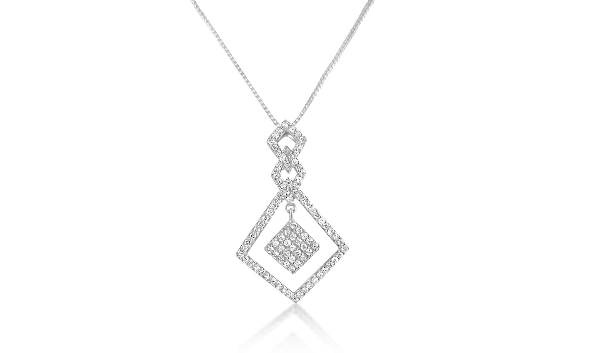 18 karaat wit goud hanger met 0.65 ct diamanten