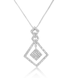 18 karat white gold pendant with 0.65 ct diamonds