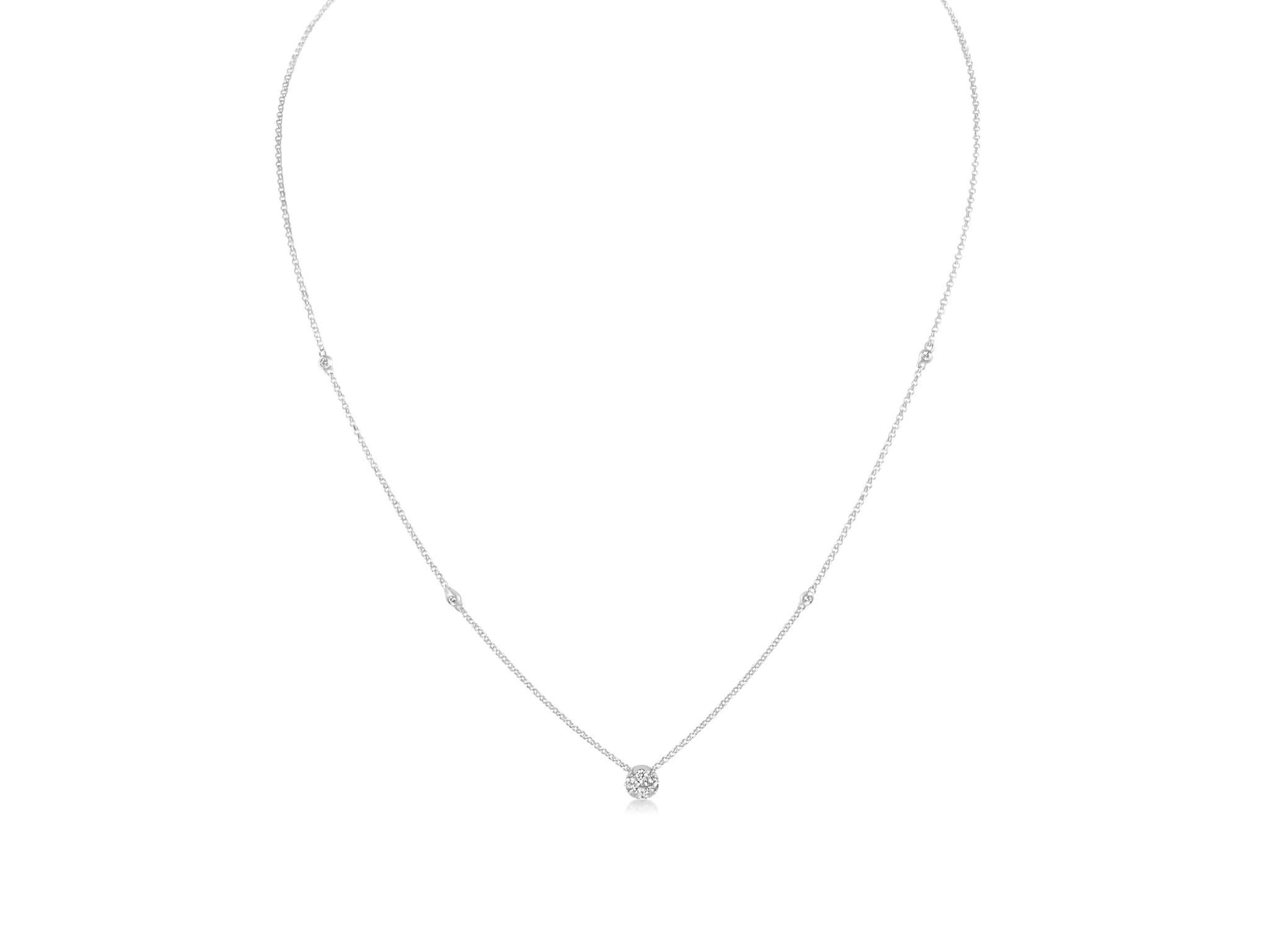 18 karaat wit goud ketting met 0.24 ct diamanten hangers