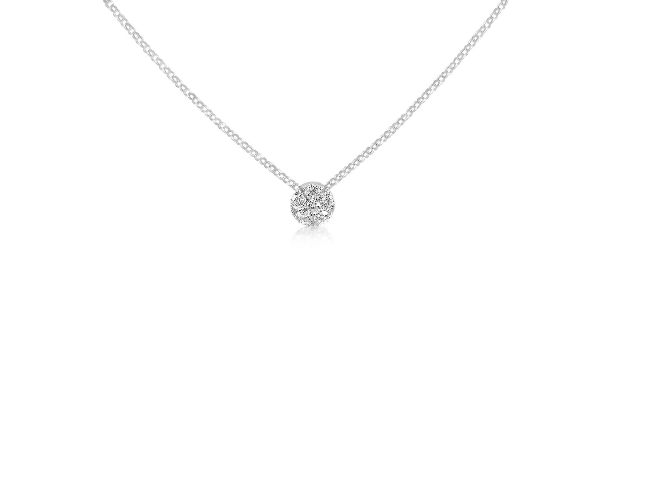 18 karat white gold chain with 0.24 ct diamonds pendants