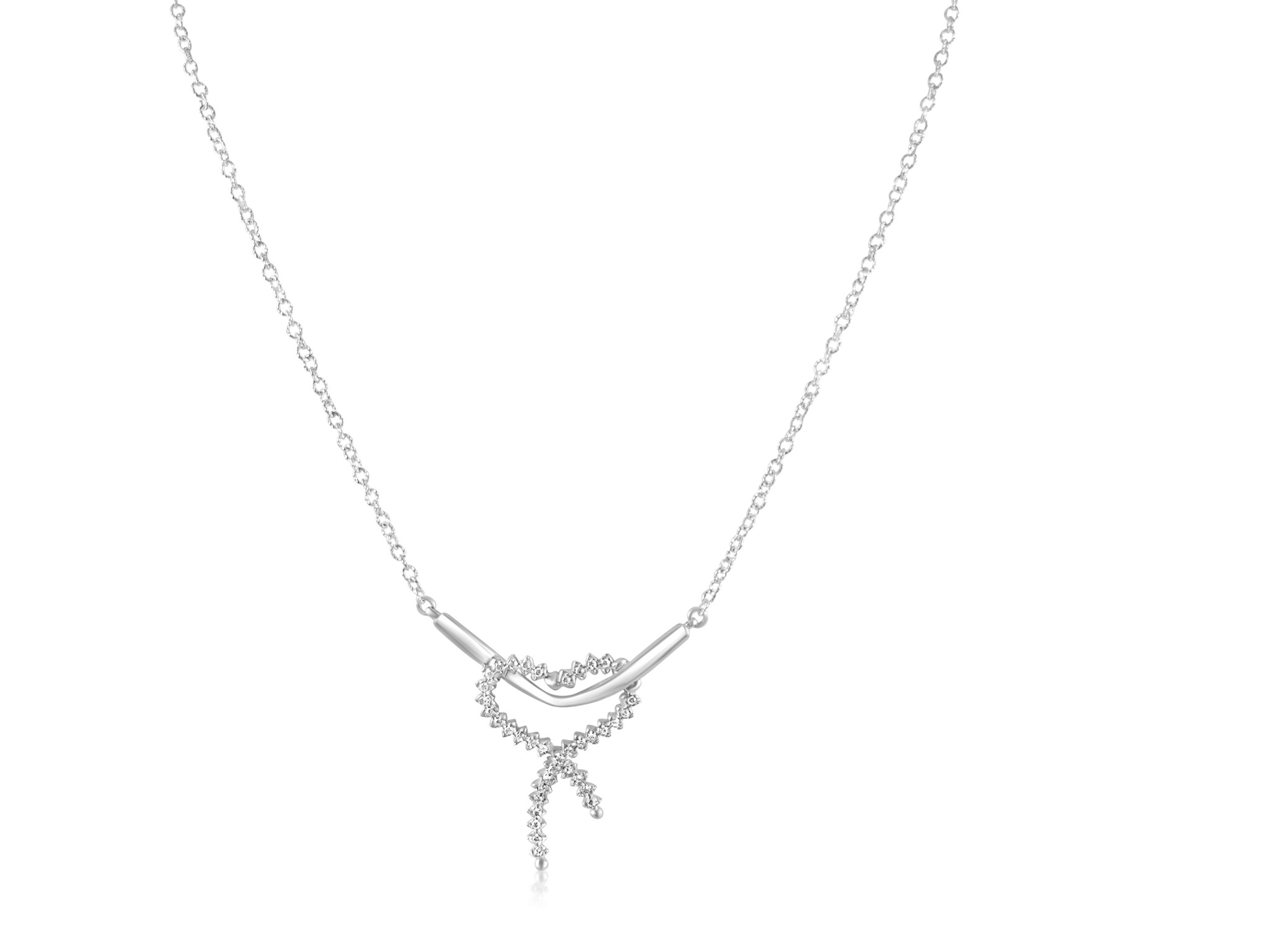 18kt white gold necklace with pendant with zirconia