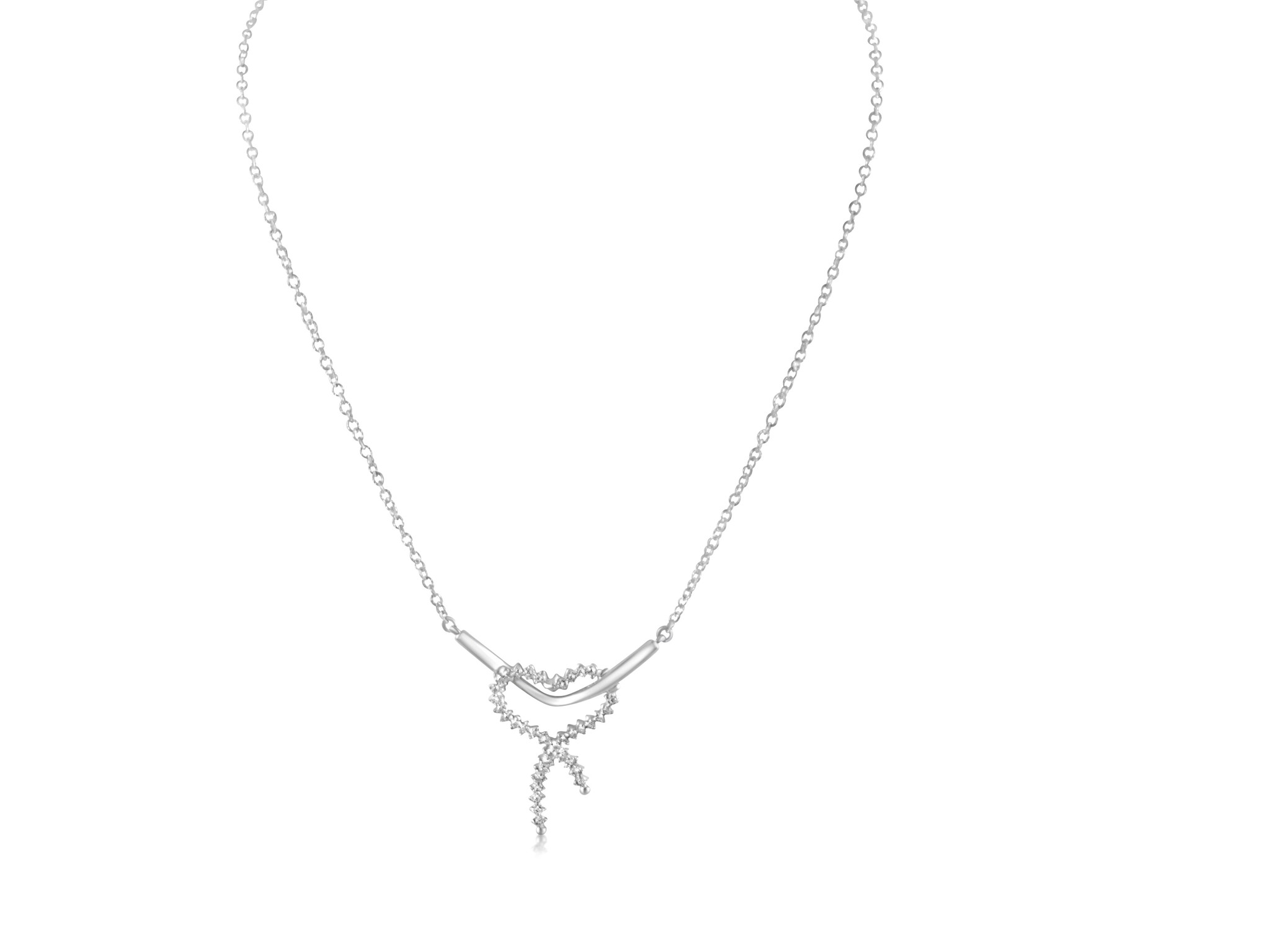 18 karat white gold chain with pendant with zirconia