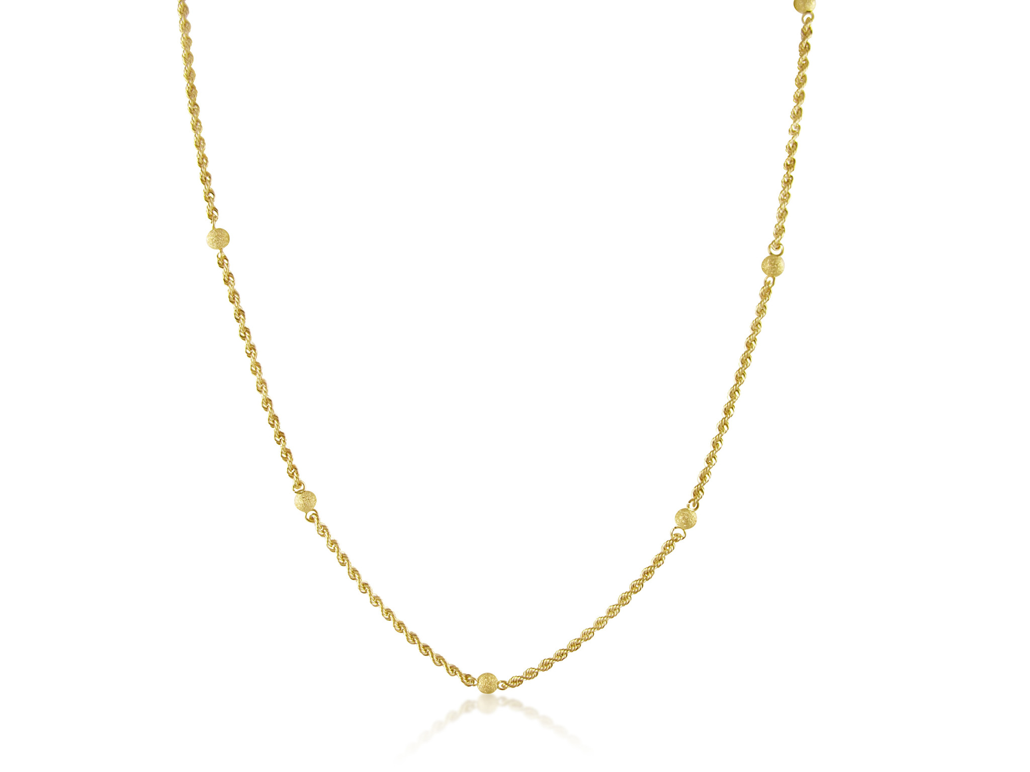 18 karaat geel goud touw ketting met bolletjes
