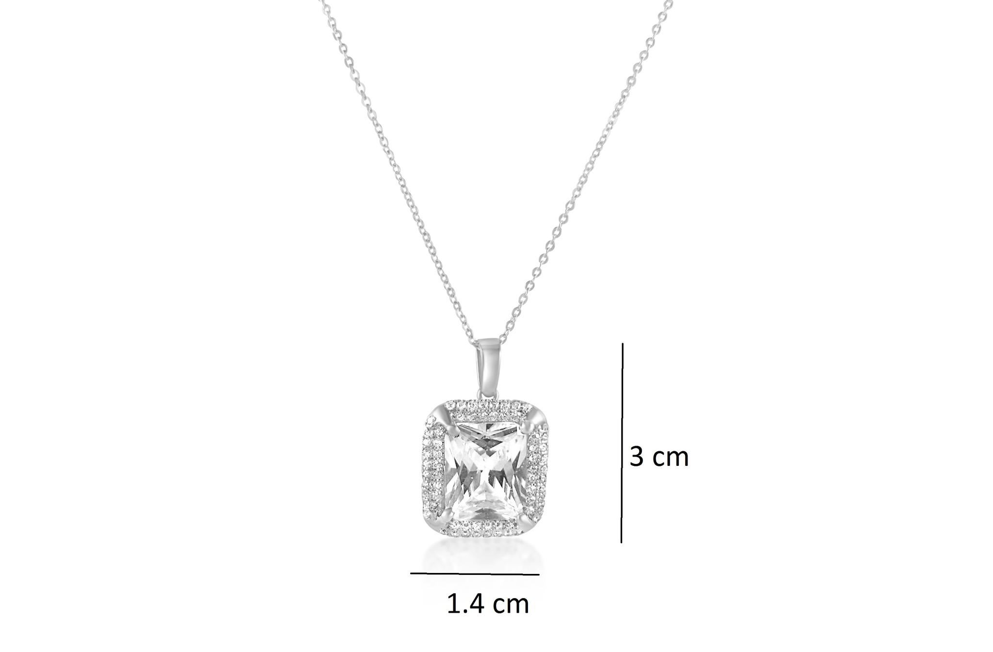 18 karat white gold pendant with zirconia