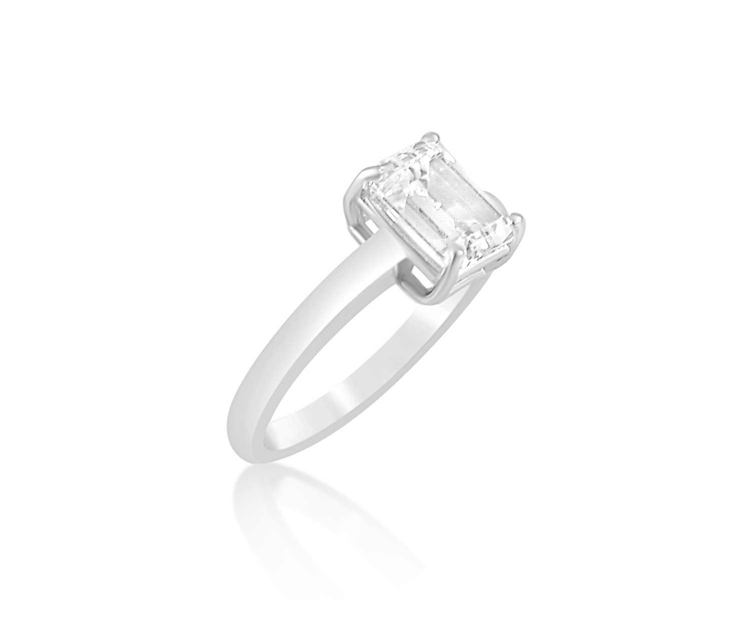 18 karat white gold engagement ring with zirconia