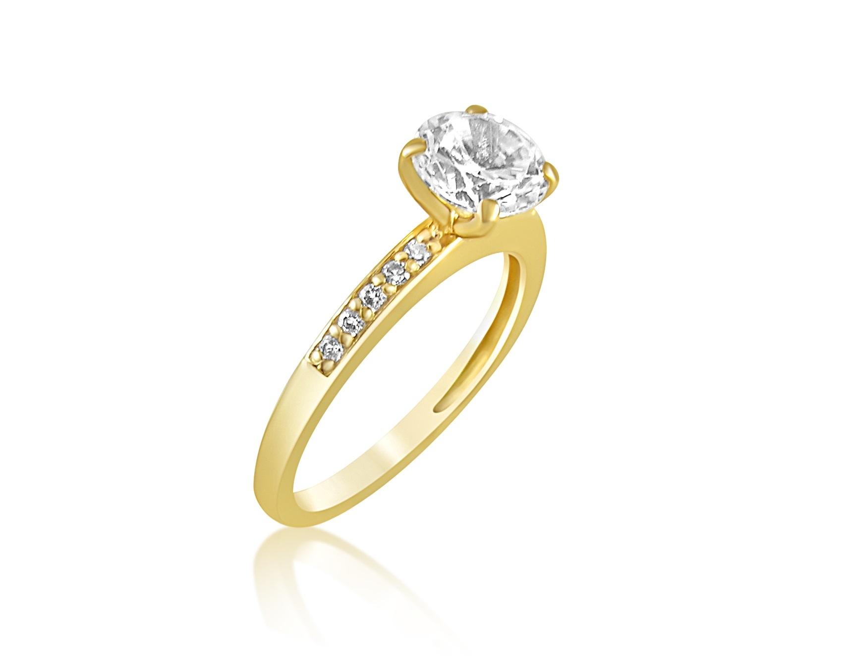 18 karaat geel goud verlovingsring met zirkonia