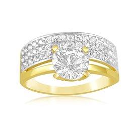 18 karat yellow and white gold engagement ring with zirconia
