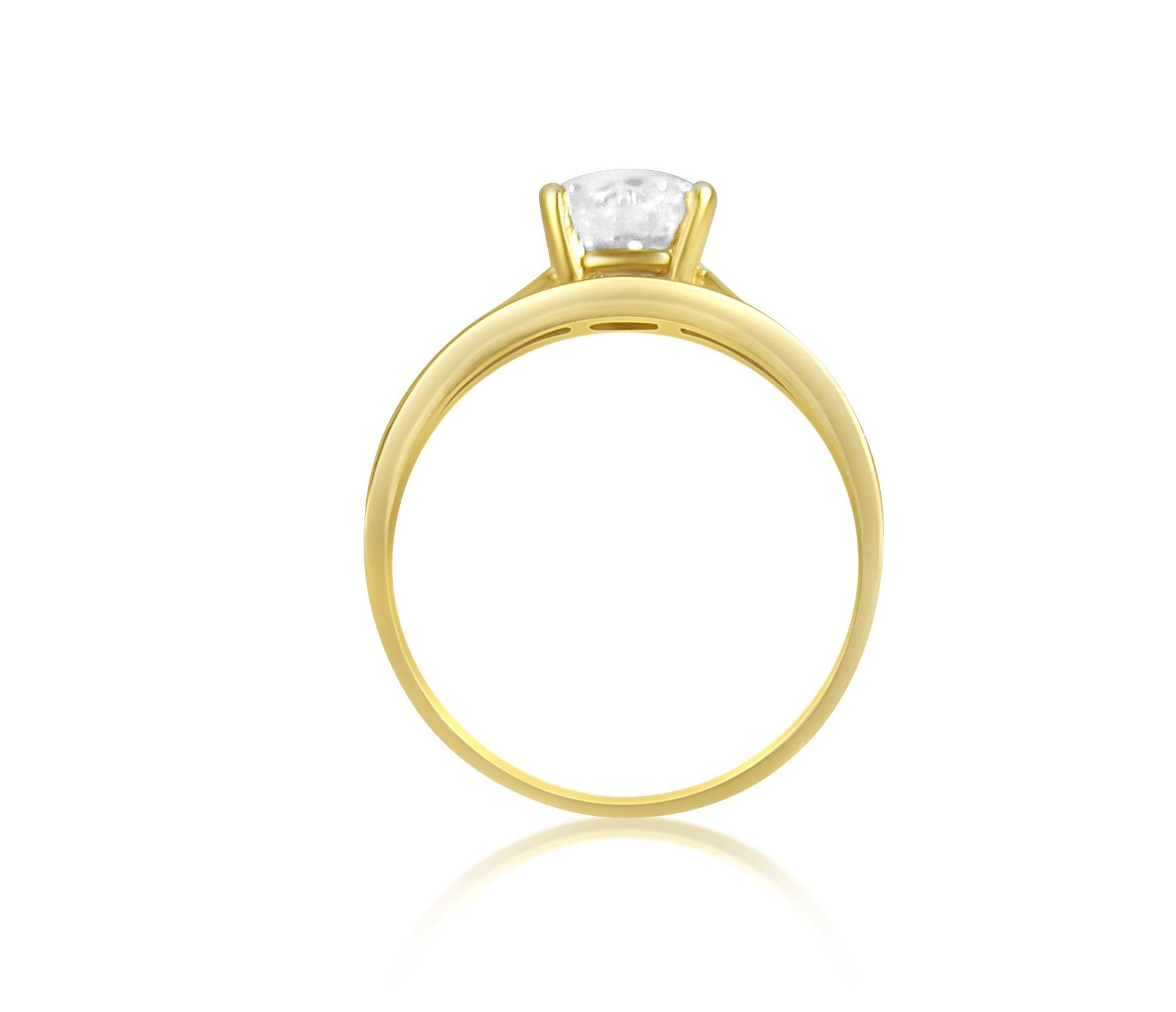 18 karaat geel en wit goud verlovingsring met zirkonia