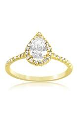 18k geel goud verlovingsring met zirkonia