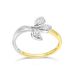 18 karat white and yellow gold leaf ring with 0.02 CT diamonds