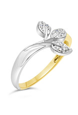 18 karaat wit en geel goud bladeren ring met 0.02 CT diamanten
