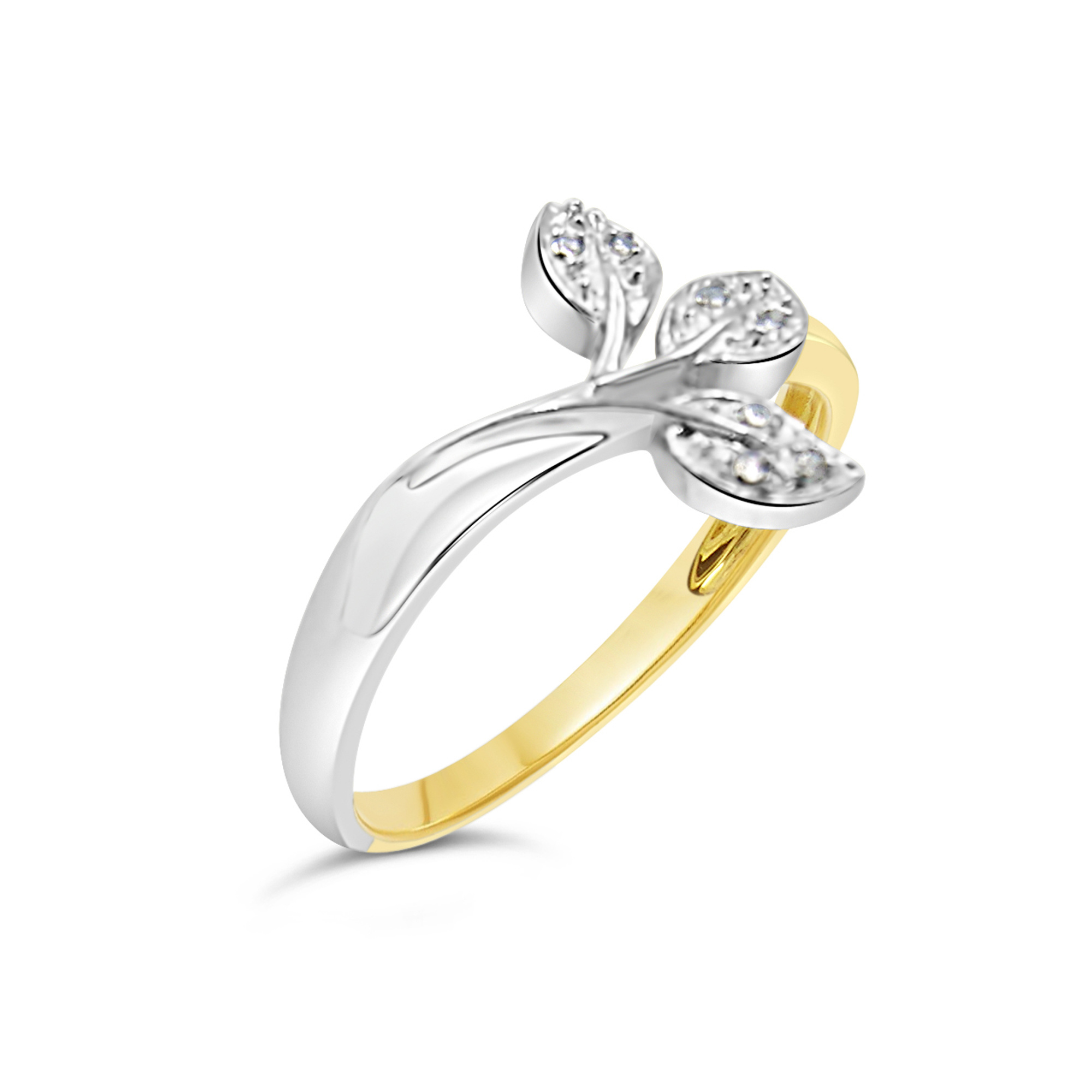 18kt white and yellow gold leaf ring with 0.02 CT diamonds