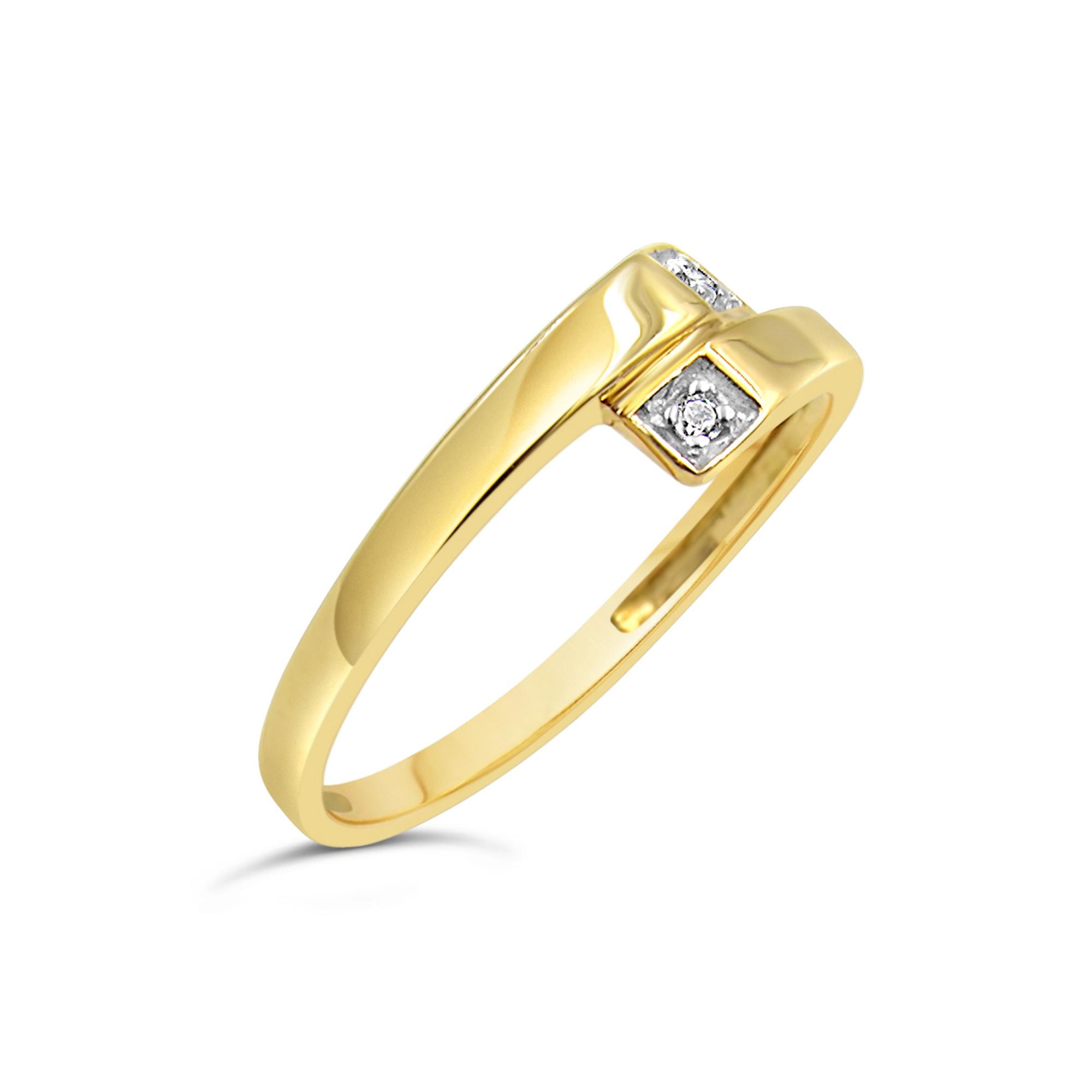 18 karaat geel goud ring met 0.02 CT diamanten
