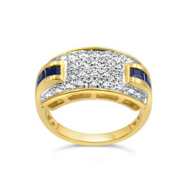 18 karaat geel en wit goud ring met 0.28 ct diamanten en 0.50 ct saffier