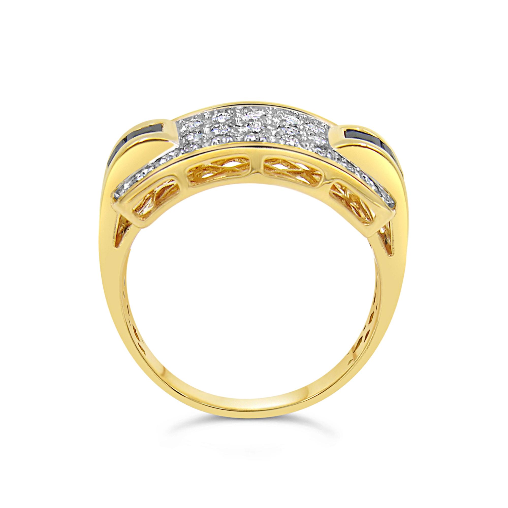 18kt geel en wit goud ring met 0.28 ct diamanten en 0.50 ct saffier