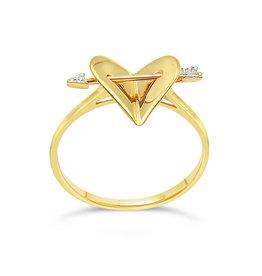 18 karat yellow gold  hart ring with 0.01 ct diamond