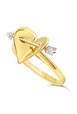 18kt yellow gold  hart ring with 0.01 ct diamond