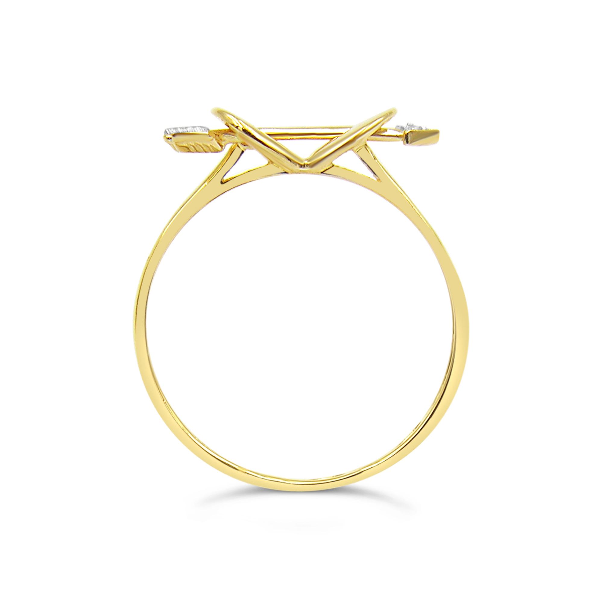 18 karaat geel goud hart ring met 0.01 ct diamant