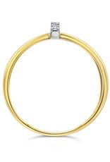 18 karaat geel goud ring met 0.04 ct diamanten