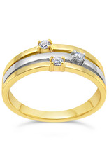 18kt yellow and white gold  ring with 0.06 ct diamonds
