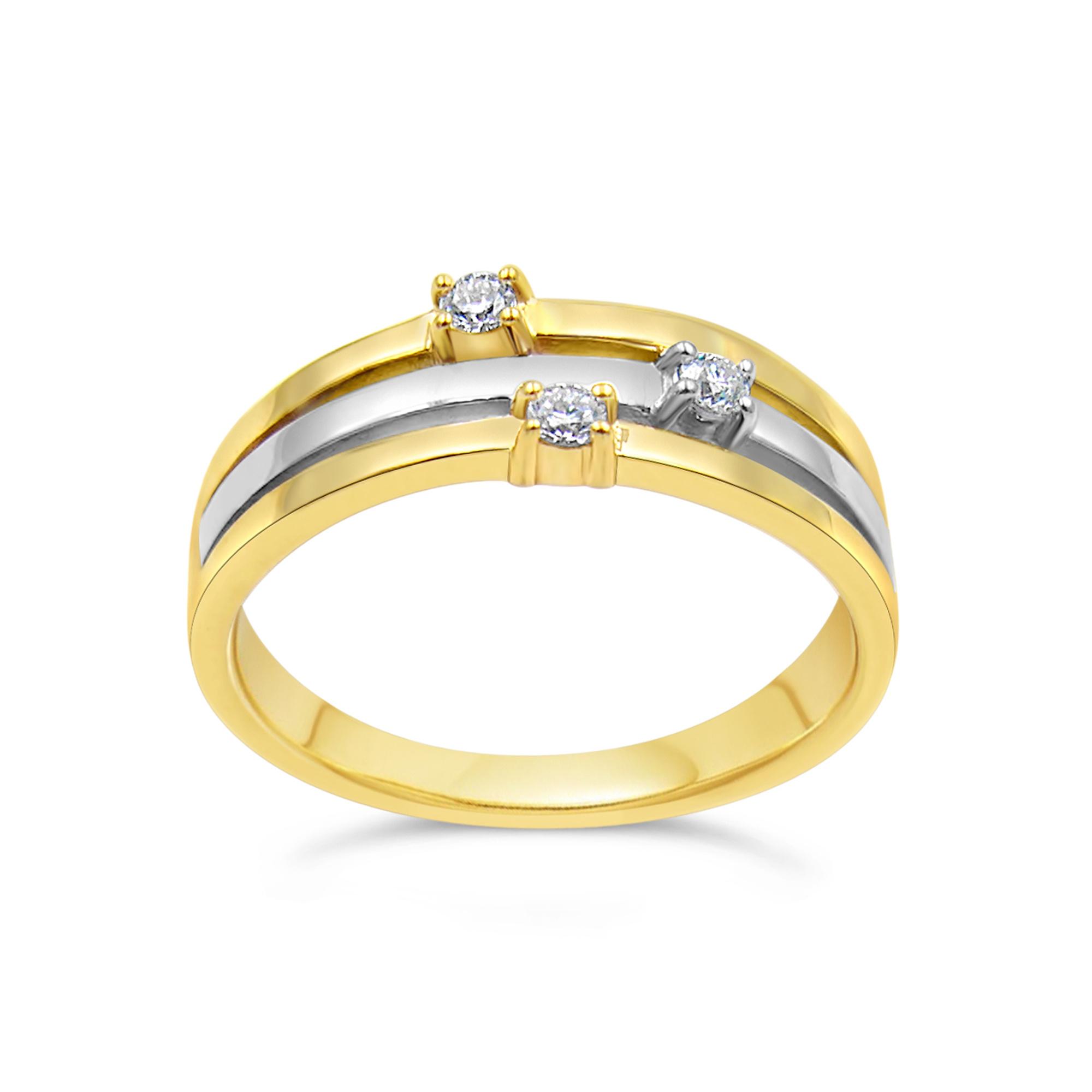 18kt geel en wit goud ring met 0.06 ct diamanten