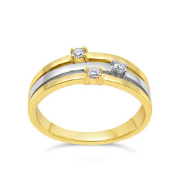 18 karaat geel en wit goud ring met 0.03 ct diamanten