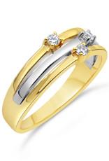 18 karaat geel en wit goud ring met 0.06 ct diamanten