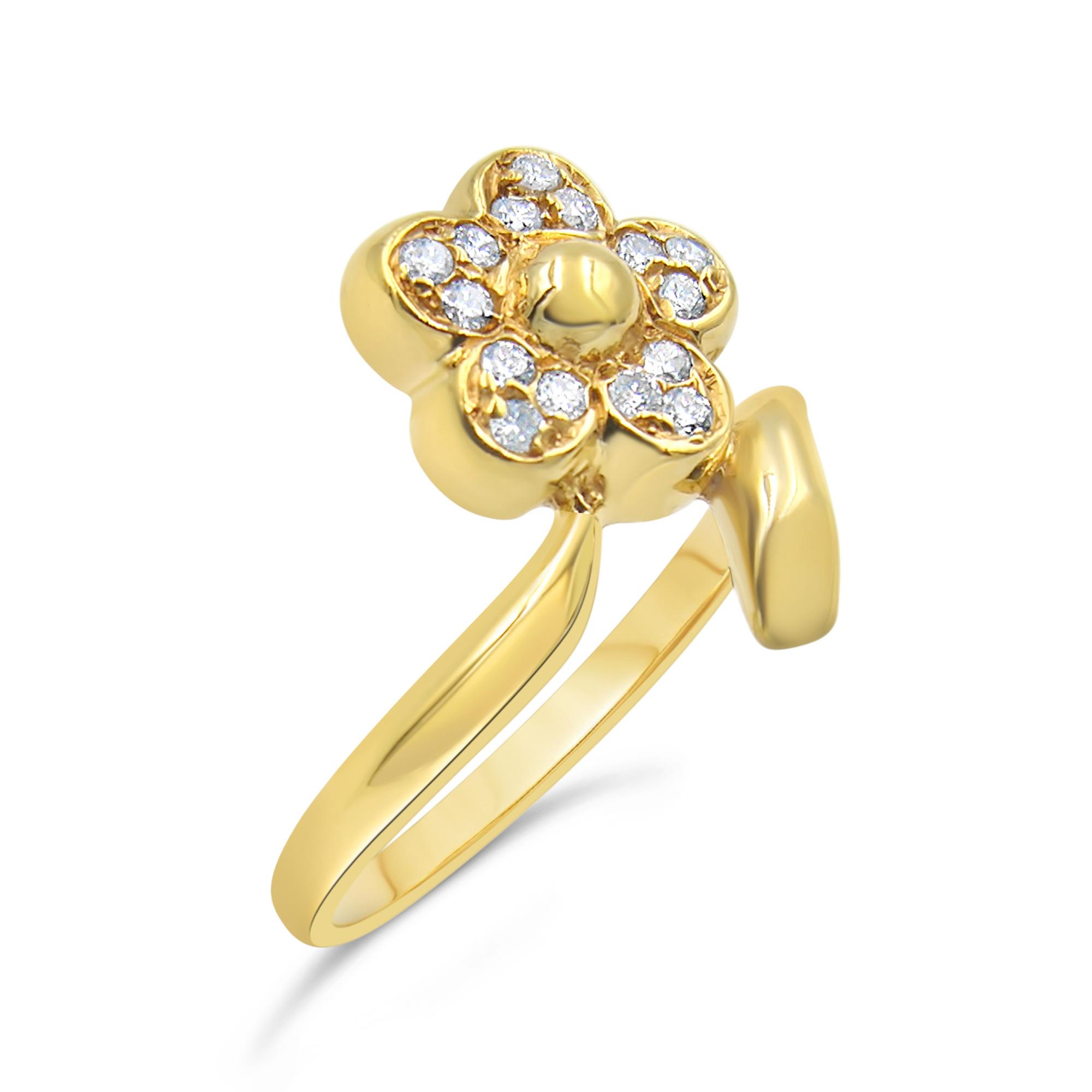 18kt geel goud bloem ring met 0.15 ct diamanten