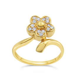 18kt yellow gold  flower ring with 0.15 ct diamonds