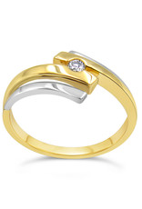 14kt yellow gold engagement ring with 0.05 ct diamond